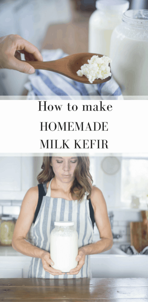 two pictures of homemade milk kefir and kefir grains