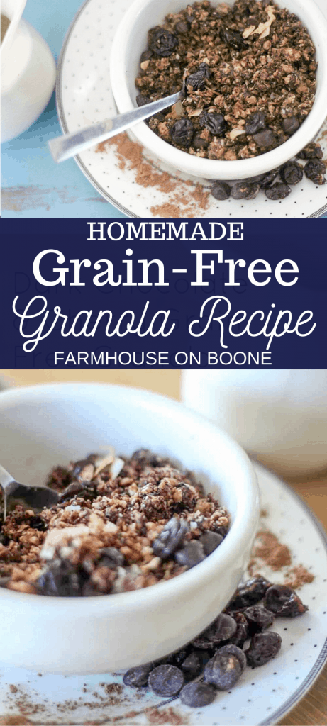two pictures of grain-free granola in a white bowl