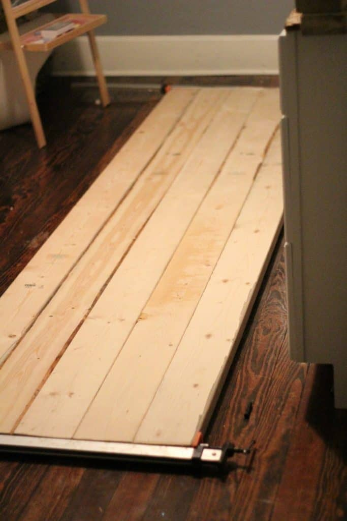 laying down the craftroom desk boards