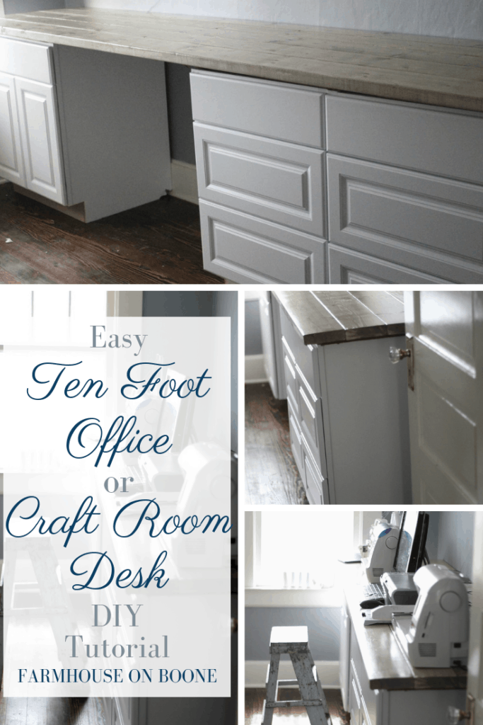 Ten Foot Office Or Craft Room Desk Tutorial - Farmhouse on Boone