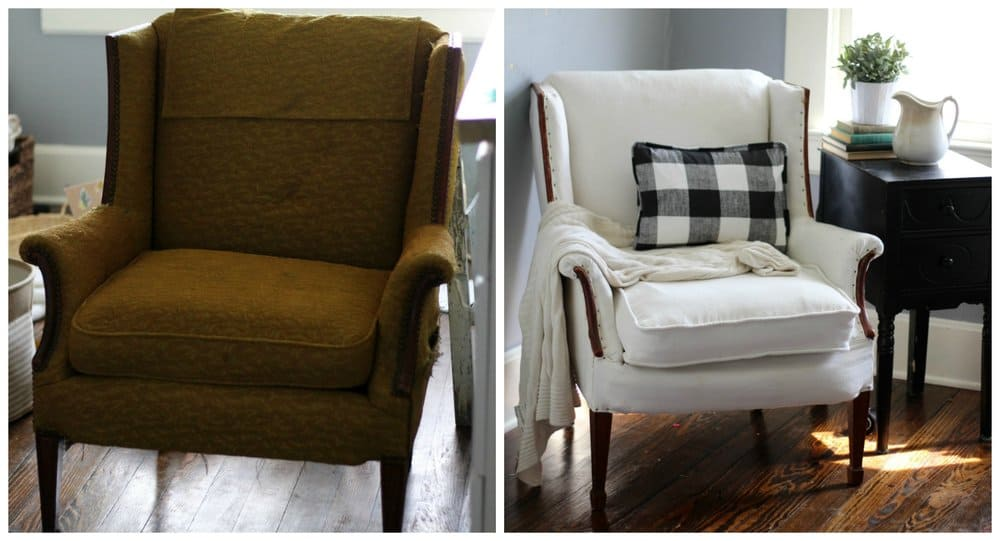 how to reupholster a vintage chair before and after