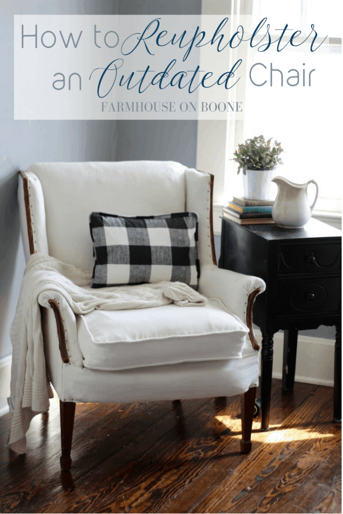 How to Reupholster an Outdated Chair - Farmhouse on Boone