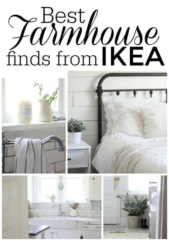 collage of cheap farmhouse decor found at ikea