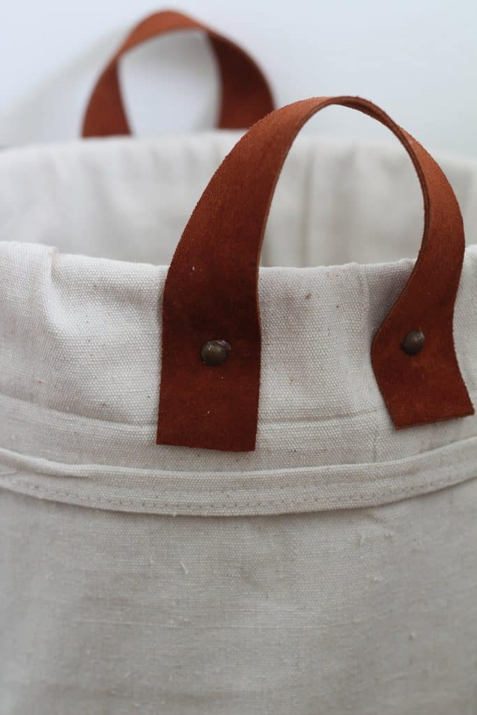 finished diy canvas tote made from a 5-gallon bucket and drop cloth