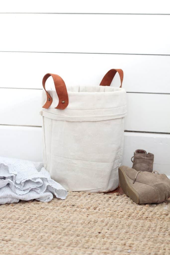 DIY Canvas Tote Using A Five Gallon Bucket And Drop Cloth