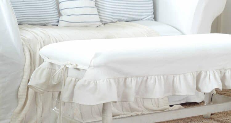 Ruffle Bench Slipcover Tutorial