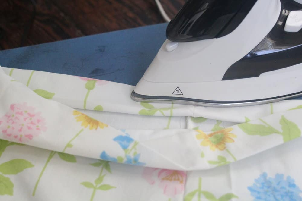 ironing down the hem