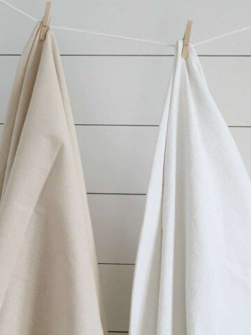 Learn how to bleach drop cloth to make it soft and white in this tutorial
