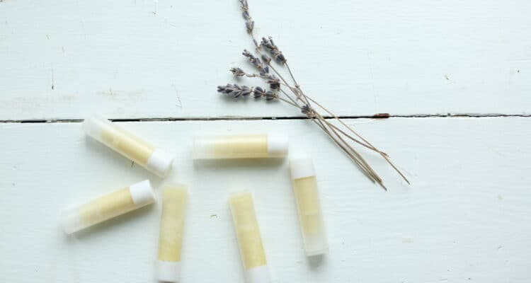 homemade lip balm on a white table with dried lavender
