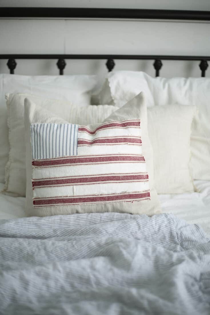 Scrappy Flag Pillow Cover Tutorial DIY Fourth of July Decorations