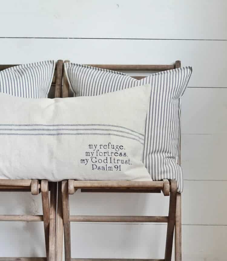 Psalm 40 Grain Sack Pillow Cover Available In Blue Brown And Red Interesting Grain Sack Pillow Covers