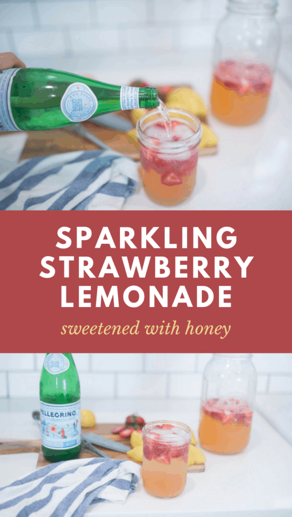 sparkling strawberry lemonade in mason jar