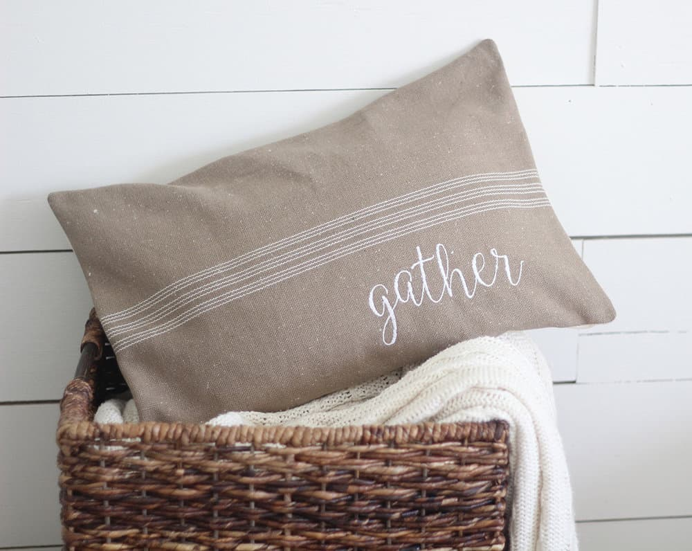 Gather Grain Sack Pillow Cover Available In Blue Brown