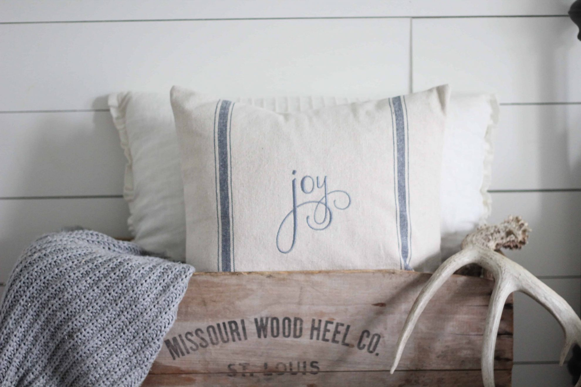 Joy Grain Sack Pillow Cover Available In Blue Tan And Red