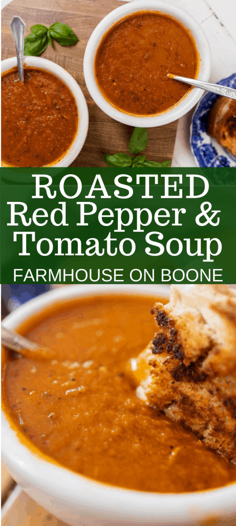 two pictures of roasted red pepper and tomato soup