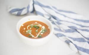 recipe for red pepper and tomato soup with fresh basil and roasted garlic