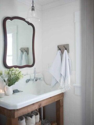 Farmhouse Bathroom Decor- Antique Farmhouse Sink and Vintage Mirror