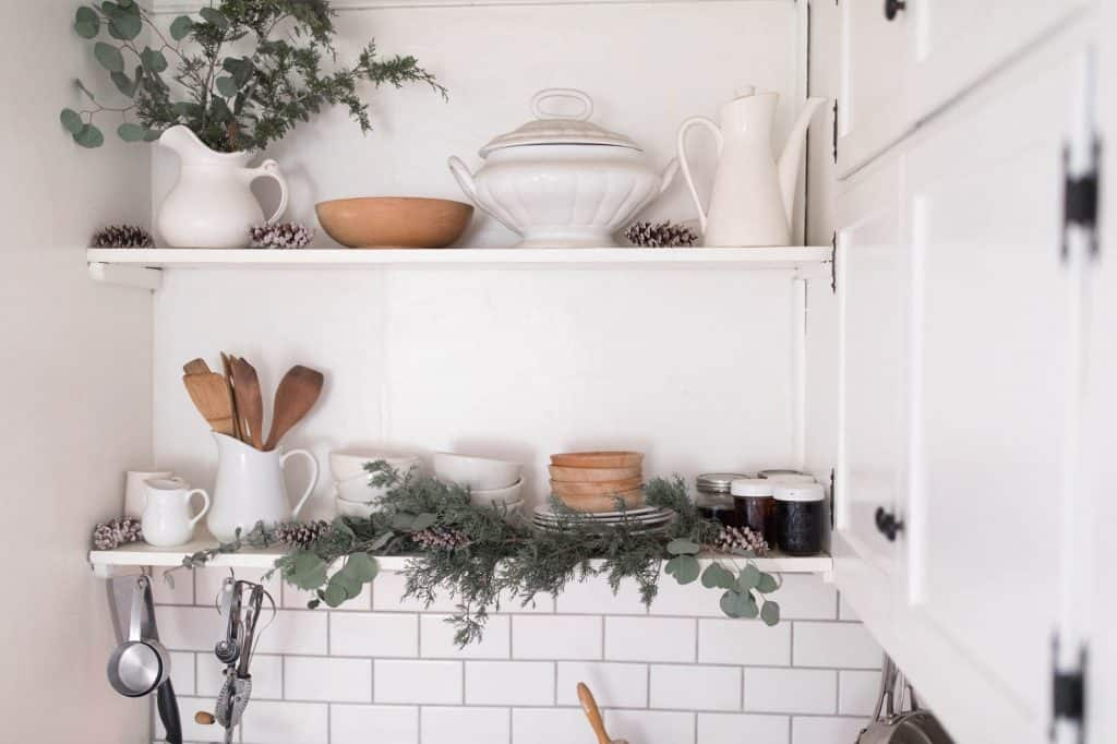 Farmhouse Christmas Kitchen Open Shelving Fresh Greenery