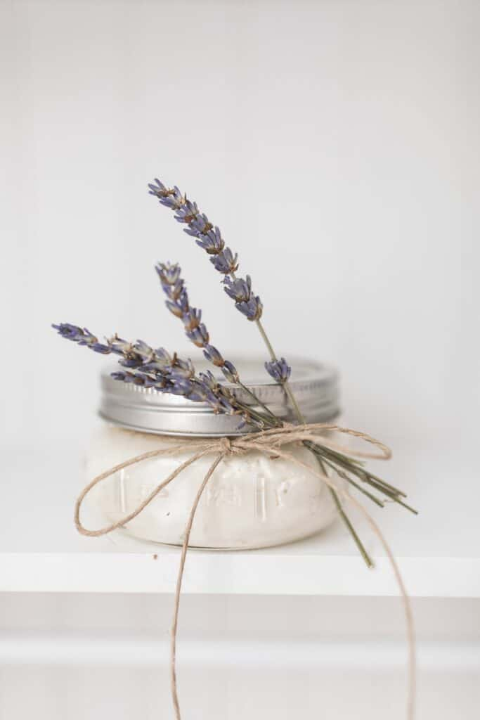 DIY body butter recipe in a mason jar with lavender