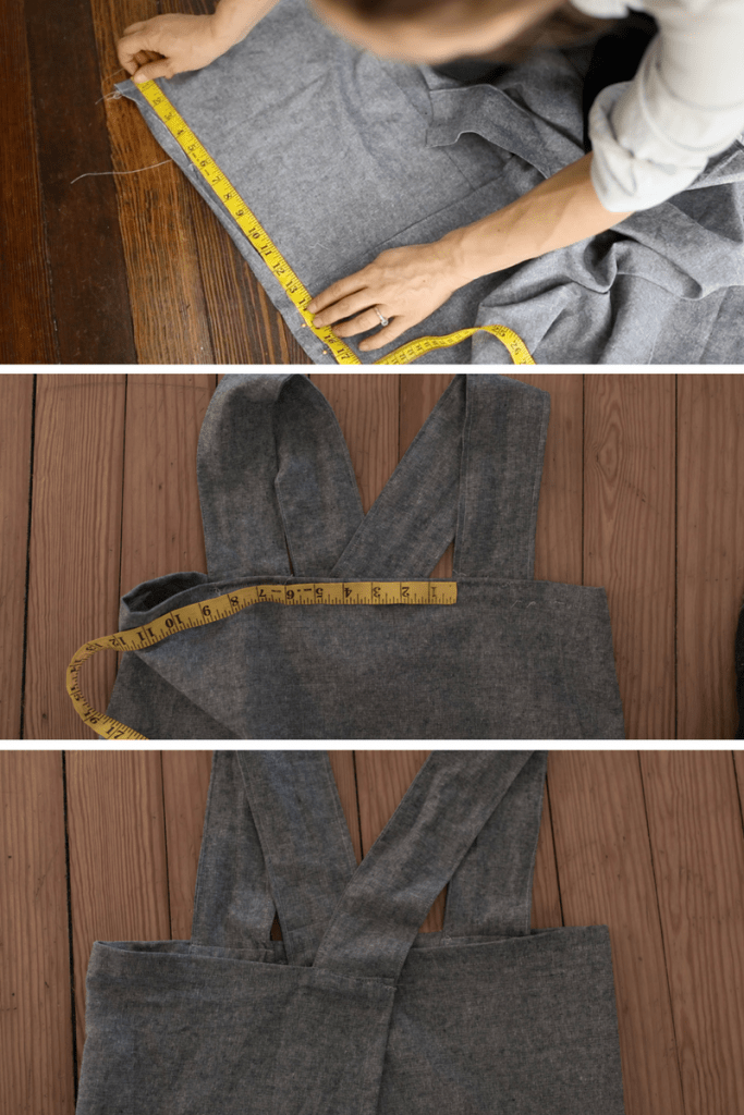 Strap Placement process photos for cross back apron sewing pattern