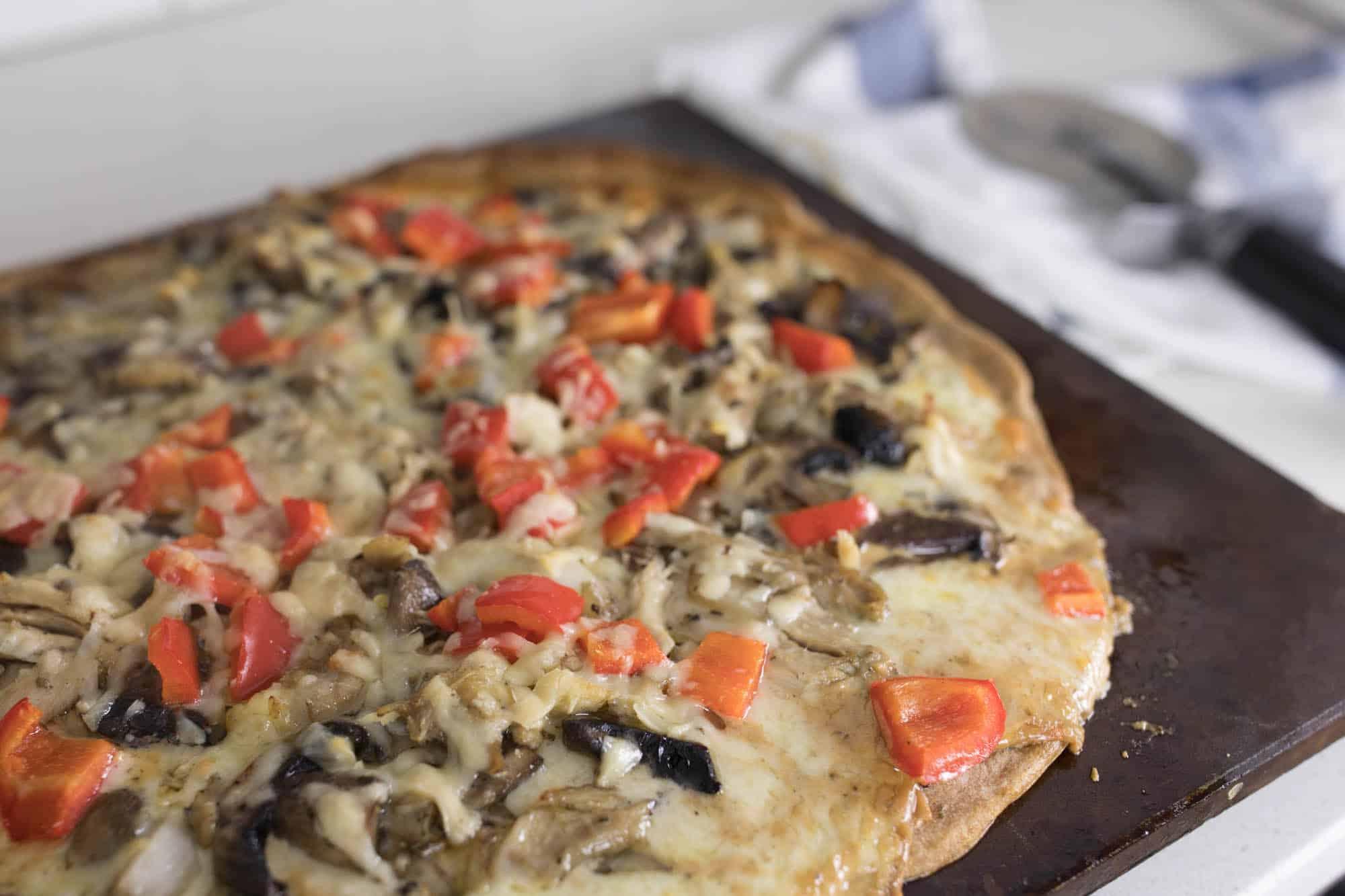 Chicken Alfredo Sourdough Pizza Recipe with Homemade Cream Sauce