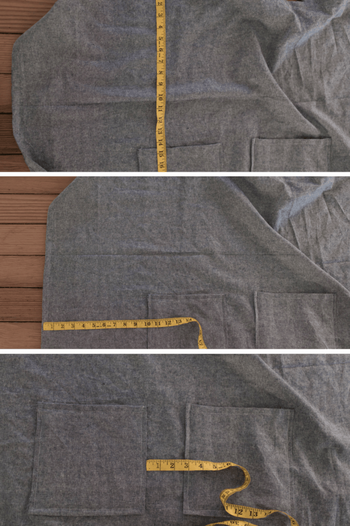 Pocket placement guide for apron pattern