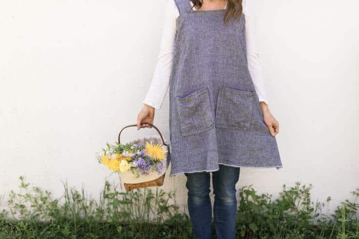 DIY Linen Pinafore Apron for Women Free Pattern