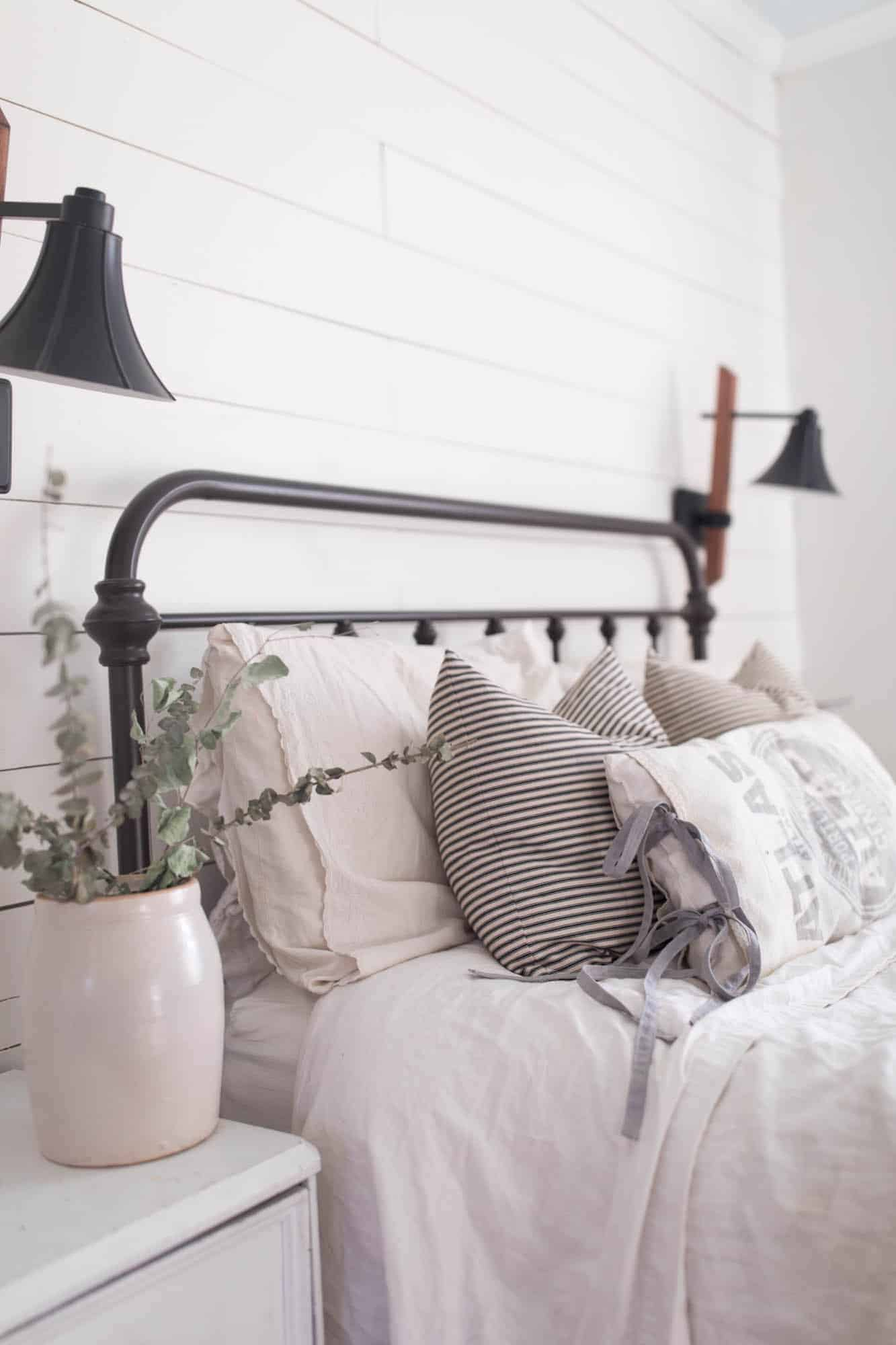 Grain Sack and Linen Pillow Cover DIY