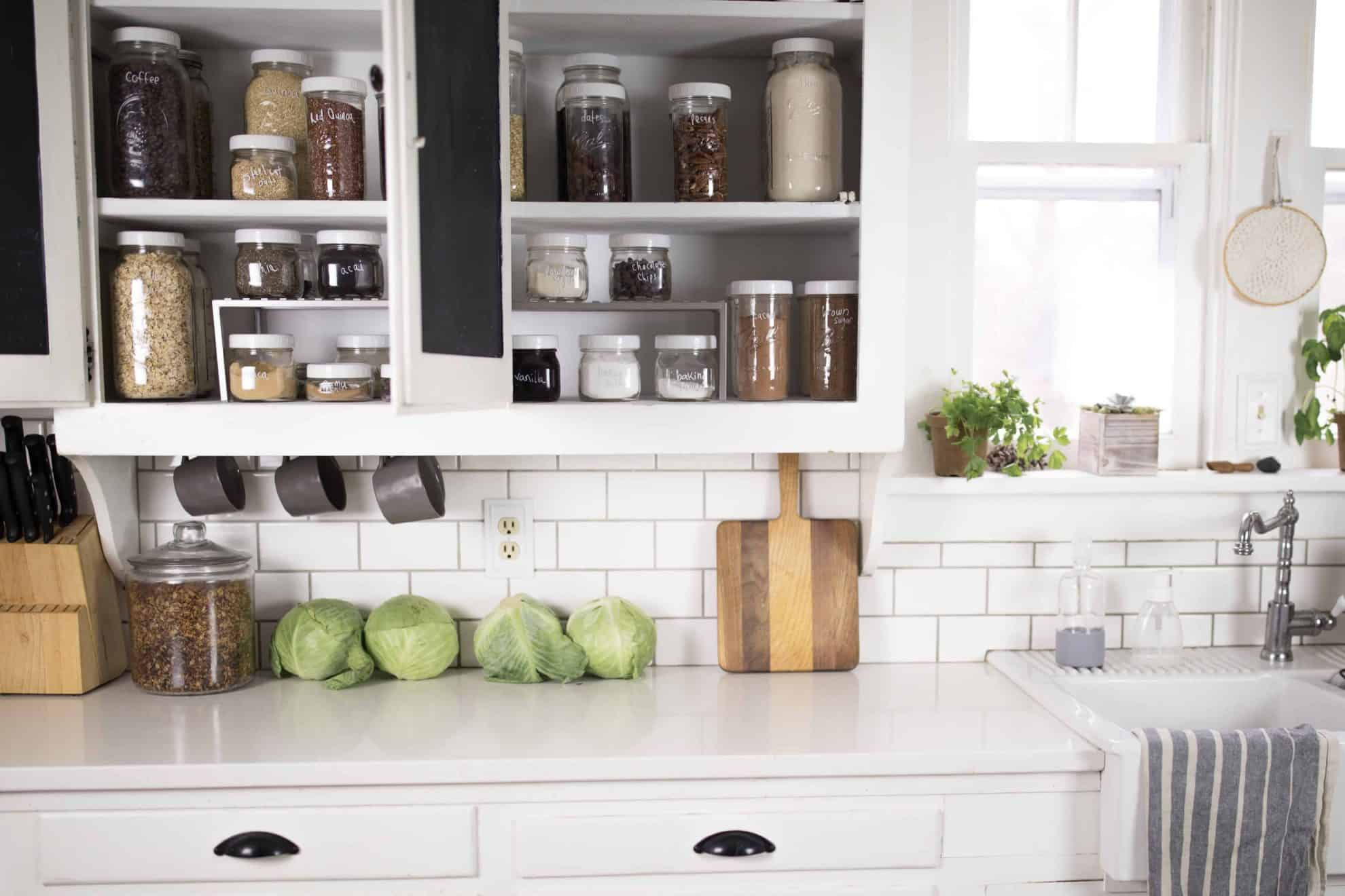Farmhouse Kitchen Cabinet Organization with Mason Jars