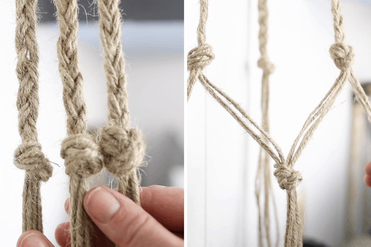 two pictures of braided and knotted macrame making a plant hanger