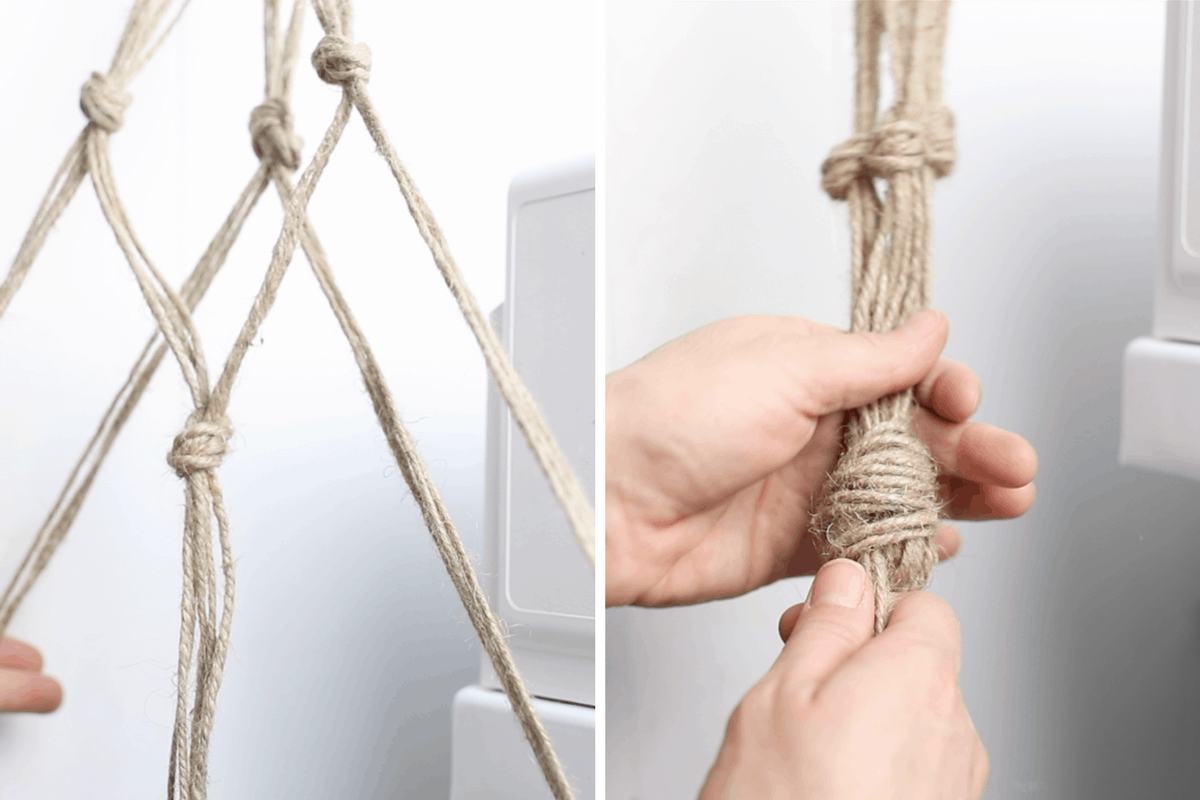 two pictures of how to knot jute to make a macrame plant hanger diy