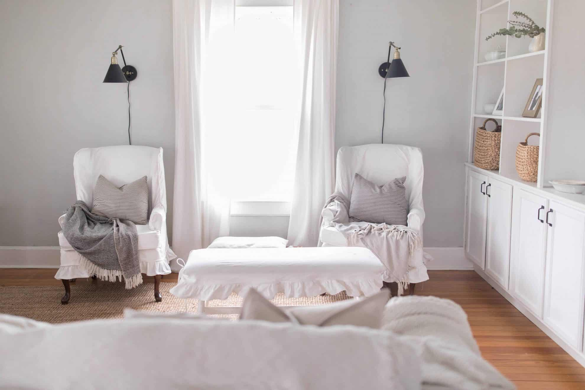 White slipcovers with kids how I keep them clean