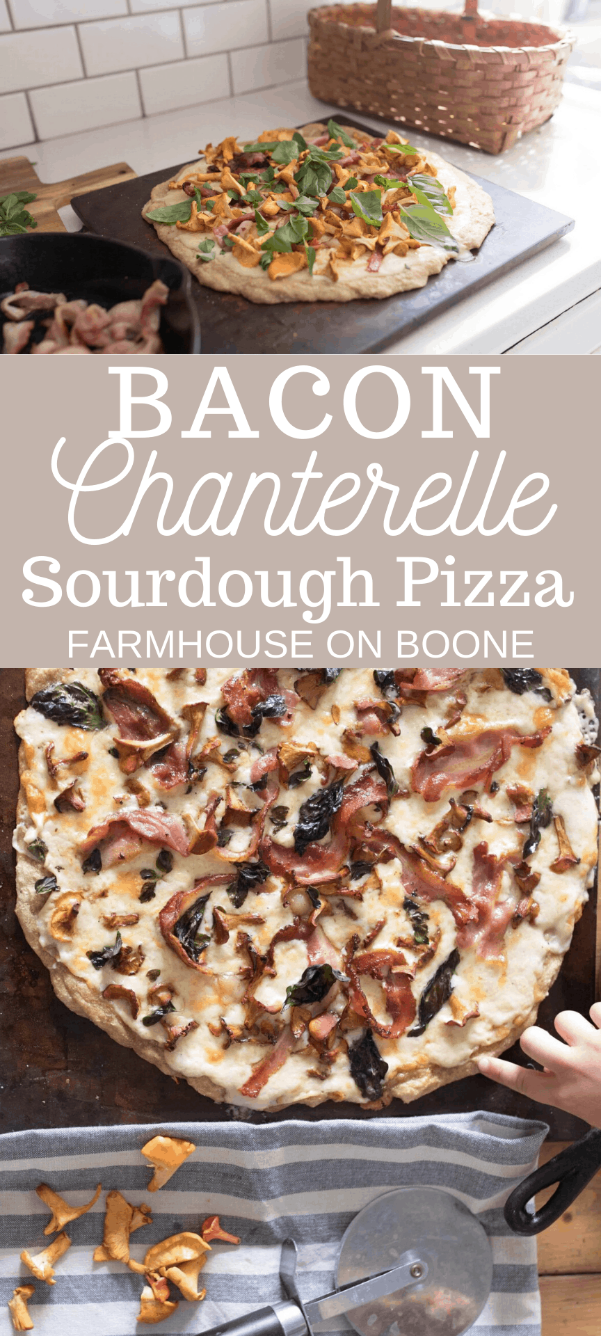 two pictures of chanterelle mushroom pizza with bacon