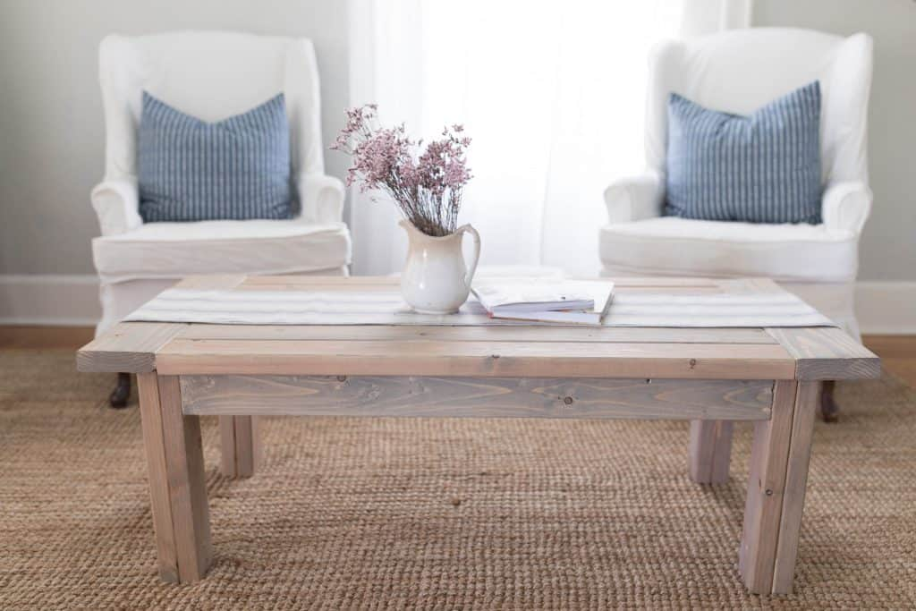 farmhouse coffee table diy plans weathered oak stain