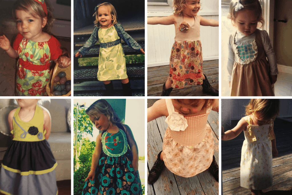 multiple pictures of homemade dresses worn by a little girl
