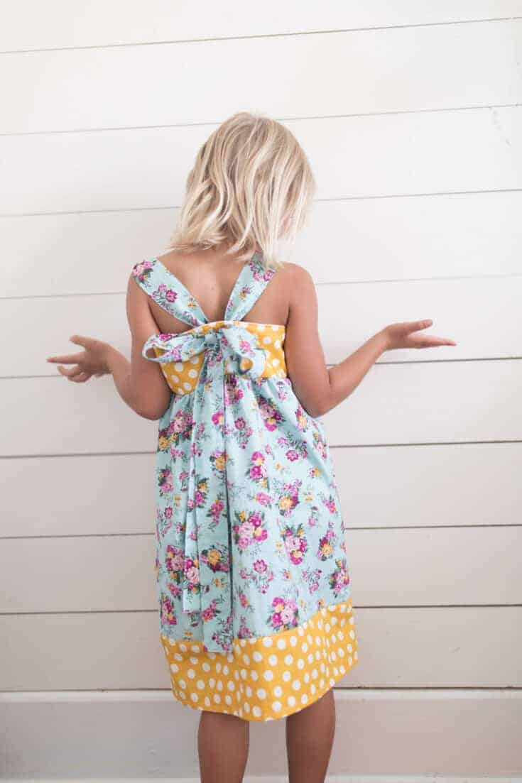 Easy Girls Dress Sewing Tutorial- Bow in the Back Summer Dress