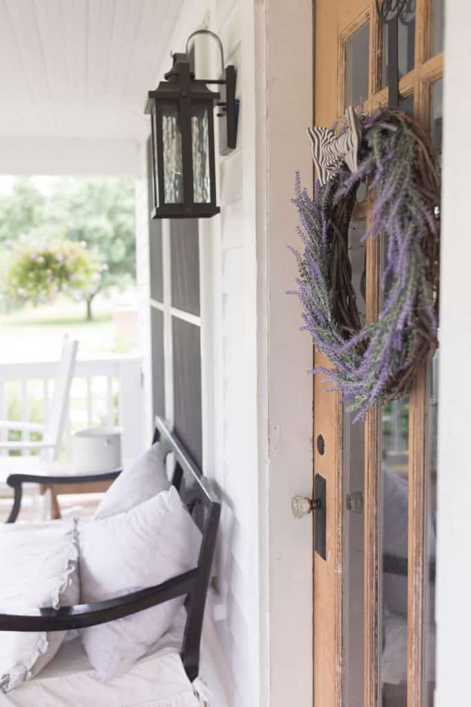 simple diy farmhouse wreath faux lavender and ticking stripe