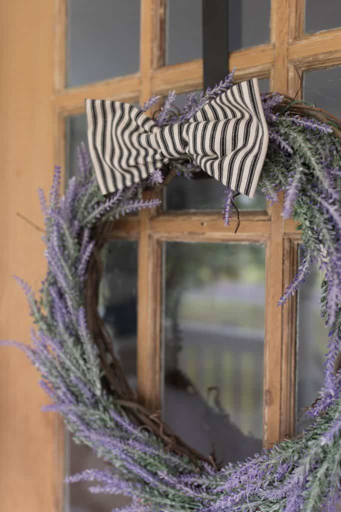 DIY lavender wreath with ticking stripe bow