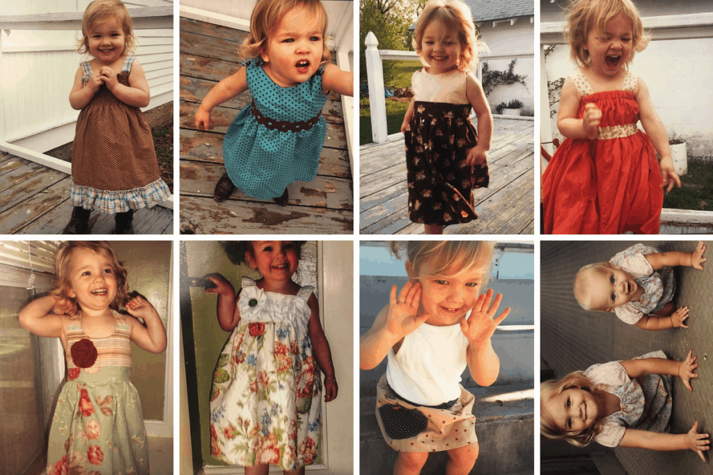 collage of pictures of a little girl wearing handmade dresses
