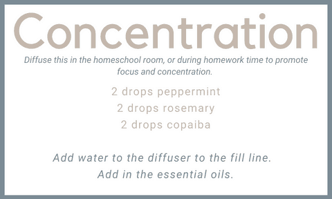homeschool room essential oil diffuser blend for concentration