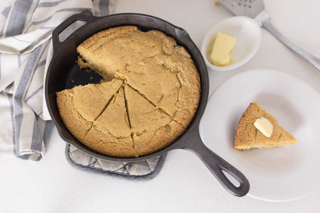 cornbread in the cast iron skillet made with einkorn and milled popcorn