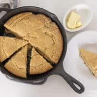 Cast Iron Einkorn Cornbread with Popcorn and Honey