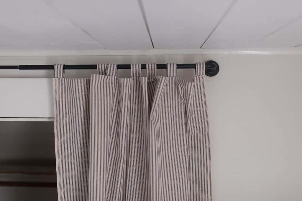 ticking stripe curtain for the closet farmhouse boys bedroom
