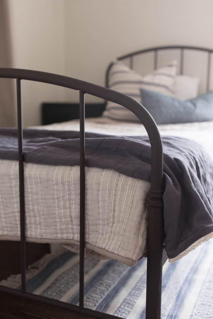 farmhouse iron bed boys room