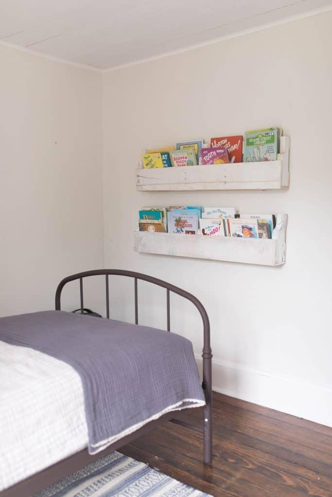pallet bookshelves farmhouse boys room makeover reveal