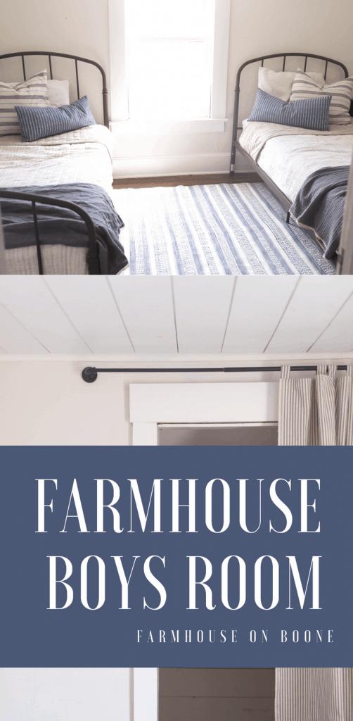 Farmhouse bedroom makeover iron bed shiplap ticking stripe farmhouse decor
