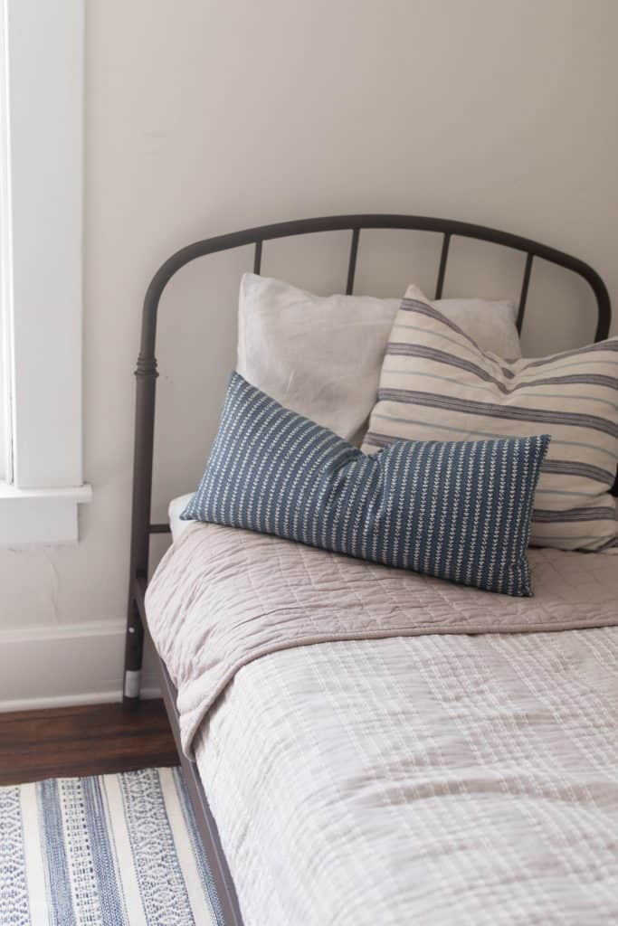 farmhouse bedding boys bedroom blue and tan stripe
