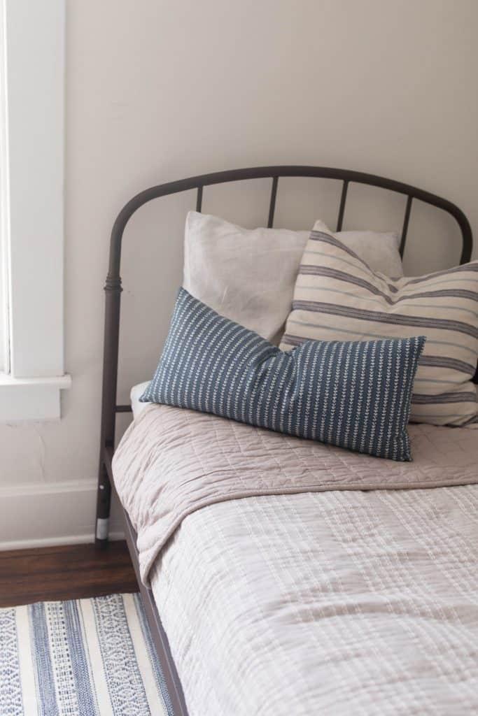 farmhouse bedding boys bedroom blue and tan
