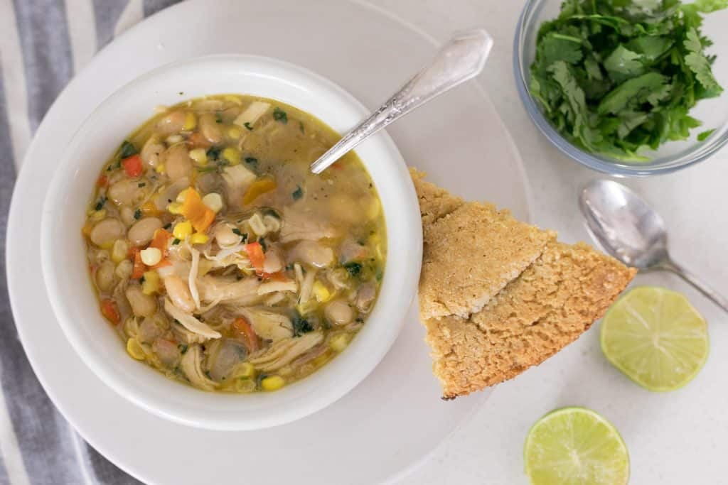 white chicken chili with homemade bone broth and dried beans recipe