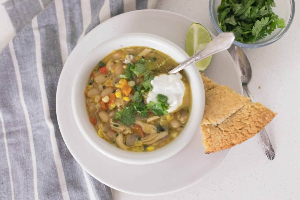 White chicken chili from dried beans with homemade bone broth